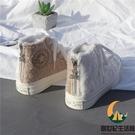 毛毛加絨帆布鞋高幫羊羔毛鴛鴦運動鞋保暖【創世紀生活館】