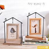 創意簡約北歐現代鐵藝房子臥室客廳照片雙面相框擺臺6寸相片擺件gogo購