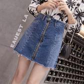 VK精品服飾 韓系百搭拉鏈牛仔高腰寬松顯瘦單品短裙
