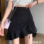 2020夏季新款港味不規則半身裙復古黑色包臀短裙高腰顯瘦a字裙女 米希美衣
