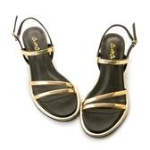 amai《12星座 - Virgo處女座》希臘風金屬雙繫帶涼鞋 黑