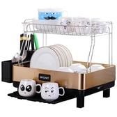 廚房瀝水碗架不銹鋼水槽置物架雙層晾碗碟架家用放碗筷收納用品