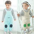 長袖連身衣 假2件 吊帶連身衣 男童 女童 條紋 爬服 哈衣 Augelute Baby 61112