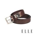 背包族【ELLE HOMME】品牌休閒皮帶/商務皮帶(咖啡色)-E字方框鏤扣