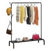 衣架落地單桿式晾衣架簡易衣帽架置物架臥室衣架子掛衣架簡約現代 卡布奇诺igo
