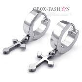 《QBOX 》FASHION 飾品【W10023911】精緻個性素面環扣十字架316L鈦鋼環扣式耳環(防過敏)