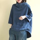 純棉工裝衛衣 連帽立領上衣 八分袖拉鏈衛衣-夢想家-0214