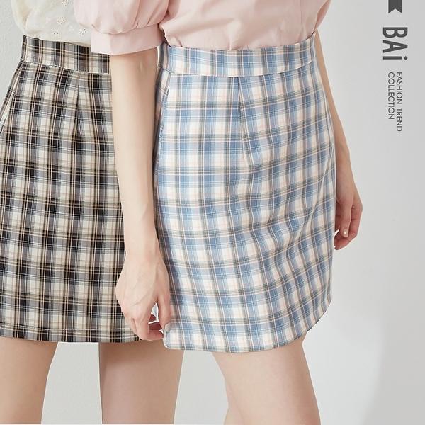 撞色格紋拉鍊褲裙M-L號-BAi白媽媽【310376】