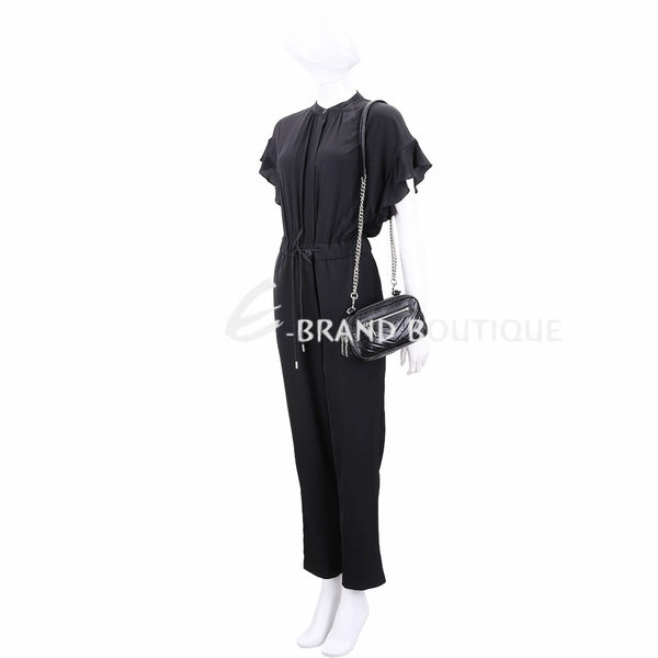 Rebecca Minkoff Double Zip 絎縫仿舊鞣製皮革手拿鍊帶包(黑色) 1910246-01