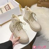 馬丁靴 白色馬丁靴女冬加絨英倫風女鞋新款2021爆款顯腳小網紅瘦瘦靴 小天使