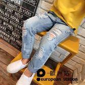 牛仔長褲/童裝女破洞淺色兒童做舊褲「歐洲站」