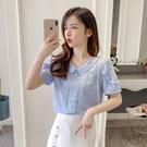 波點襯衫女設計感夏2021新款氣質蕾絲荷葉邊娃娃領很仙的短袖上衣