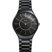 RADO 雷達 真薄系列陶瓷石英錶-黑/39mm R27741152