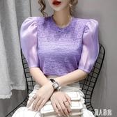 蕾絲上衣短袖雪紡衫女2020夏季新款時尚小衫收腰洋氣紫色泡泡袖上衣潮 LR23520『麗人雅苑』