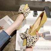 單鞋女春季新款百搭尖頭淺口女鞋仙女風蝴蝶結平底鞋豆豆鞋女 晴天時尚