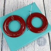 BRAND楓月 TIFFANY&CO. 蒂芬妮 紅色 簍空 大圈圈 木頭 橢圓造型 耳環 耳飾 飾品 配件