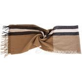 BALLY 配色條紋羊毛流蘇圍巾(駝x黑) 1530084-02