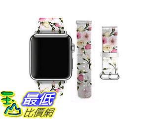[105美國直購] 蘋果錶帶 Premium Leather Strap Wrist Band Replacement Apple Watch 38mm Red Roses B00ZWY1THW