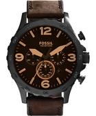 FOSSIL Nate 世紀戰神三眼計時手錶-咖啡/50mm JR1487