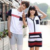 情侶裝夏裝韓版寬鬆學生短袖t恤氣質連身裙 優樂居