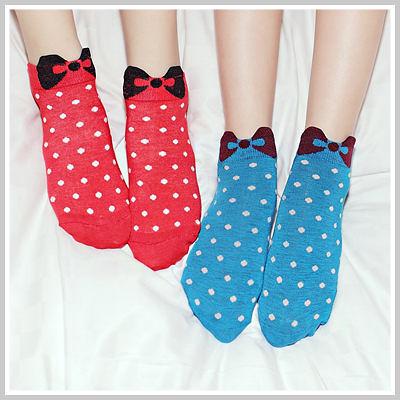 韓國超可愛Kitty蝴蝶結點點短襪【O2083】☆雙兒網☆Lazy or pretty