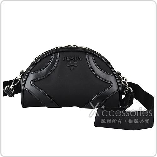 PRADA BOWLING黑字立體LOGO帆布飾小牛皮邊拉鍊斜背包(黑)