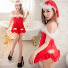 性感睡衣 露肩一字領洋裝 紅色薄紗睡衣 聖誕節睡衣-愛衣朵拉