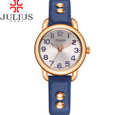 JULIUS 聚利時 搖滾甜心鉚釘錶帶腕錶-深藍色/28mm 【JA-933D】