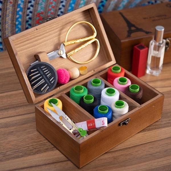 針線盒家用高檔套裝多功能高級收納包結婚嫁妝實木復古大號百寶箱 夏季新品