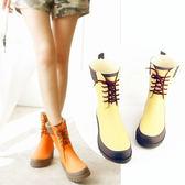 週年慶優惠-秋冬主打拼色女款雨靴百搭中筒雨鞋防滑質感女式橡膠成人馬丁靴