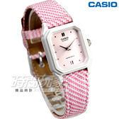 LQ-142LB-4A2 卡西歐 CASIO 皮革混搭風情腕錶 女錶 條紋粉紅 LQ-142LB-4A2DF