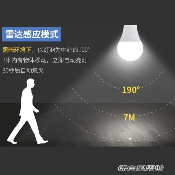 智慧led燈紅外線人體雷達感應燈泡110v220v車庫走廊樓道家用螺口 新年優惠