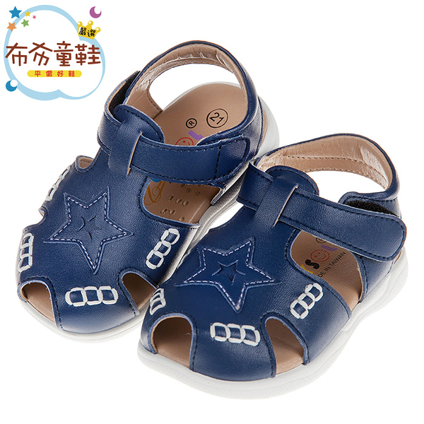 《布布童鞋》台灣製深藍色星星圖樣皮革寶寶涼鞋(13~15.5公分) [ K9H932B ]