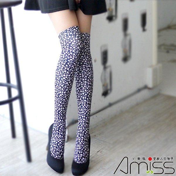 Amiss【A305-11】歐系繽紛大腿襪-浪漫星空