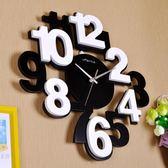 立體數字創意掛鐘客廳現代個性掛錶木質臥室靜音簡約時尚鐘錶時鐘 歐韓時代