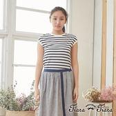 【Tiara Tiara】百貨同步  經典條紋風短袖上衣(藍/紅)
