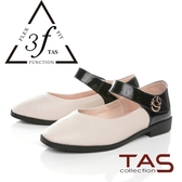TAS金屬扣飾一字繫帶異材質拼接娃娃鞋-百搭米