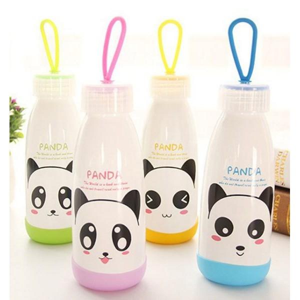 【BlueCat】純白系貓熊大紅唇白色玻璃瓶水壺 隨身杯 (300ml)