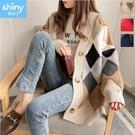 【V3295】shiny藍格子復古文藝‧撞色拼接長袖毛衣針織外套