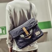 男士包包韓版單肩包斜挎包帆布郵差包死飛包多用商務手提包跨背包 居享優品