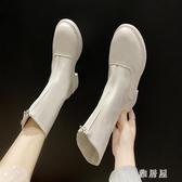 前拉鏈短靴女秋2019新款瘦瘦靴中筒白色皮靴英倫風馬丁靴秋單靴YJ973【雅居屋】