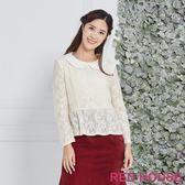 Red House 蕾赫斯-小翻領波浪蕾絲上衣(共2色)
