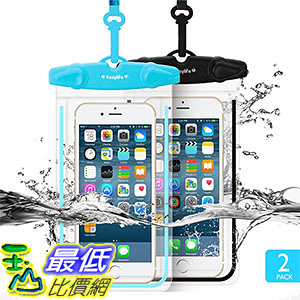 [106美國直購] 防水手機套2入 B01E8RNJN0 Waterproof Case Easylife Universal Clear Sensitive PVC Touch Screen 5.5吋