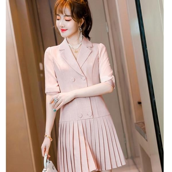 五分薄紗袖襯衫領洋裝百褶洋裝[21X029-PF]美之札