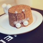 耳環 玫瑰金純銀珍珠-蝴蝶結耀眼生日情人節禮物女飾品2色73ca119【時尚巴黎】