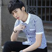 短袖條紋襯衫 男修身短條紋襯衣青年休閒百搭襯衣《印象精品》t309