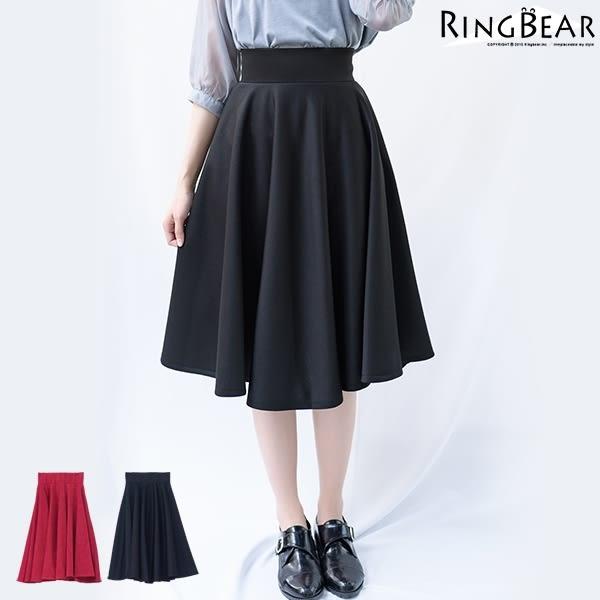 質感--時尚名媛高腰半身裙隱形拉鍊中長款赫本傘裙蓬蓬裙(黑.紅XL-5L)-Q71眼圈熊中大尺碼