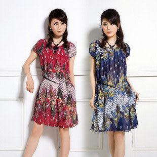 夏季新款女裝 雪紡 氣質 淑女修身短袖連衣裙 送腰帶