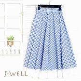 裙子 配色格紋拼接布蕾絲及膝裙 8J1190 現貨 J-WELL