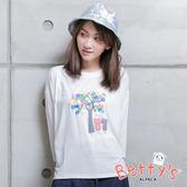 betty's貝蒂思 樹木喵咪印花七分袖T-shirt(白色)